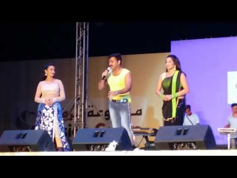 Pawan singh with akshra singh & Monalisa Hindi bhojpuri Star Night doha qatar 12 Sep 2016