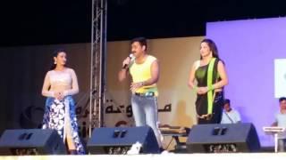 Pawan singh with akshra singh & Monalisa Hindi bhojpuri Star Night doha qatar 12 Sep 2016
