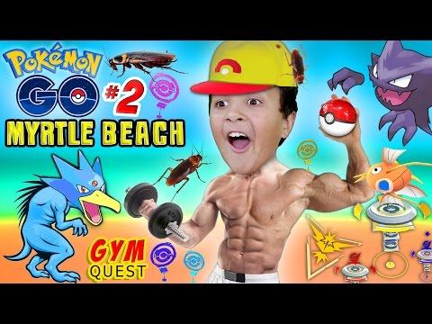 Thumbnail: POKEMON GO to MYRTLE BEACH! Gym Battle Quest & Cockroach Attack! XP LEVEL UP w/ FGTEEV Pt 2 Gameplay