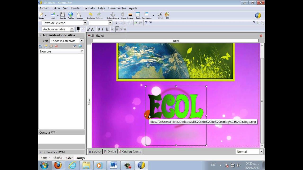 Creación de Páginas Web en KompoZer - YouTube