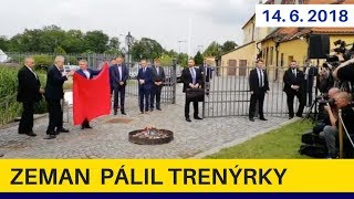 Prezident Zeman si táborákem z červených trenclí udělal srandu z některých novinářů