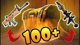 Opening 100+ SECRET GOLD CHESTS in Fortnite! (Gold Legendary Scar, P90, RPG)