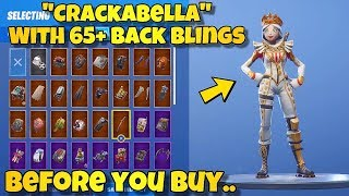 "BEFORE YOU BUY - ""CRACKABELLA"" SKIN Showcased With 65+ BACK BLINGS! Fortnite Battle Royale"