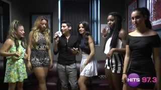 Frankie P shows Camila of Fifth Harmony the Austin Mahone Video