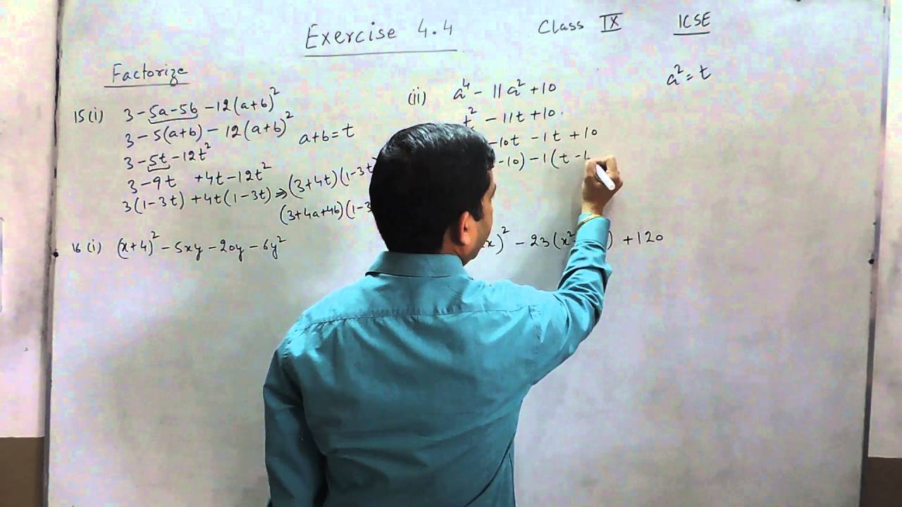 Exercise 4.4 (Q15 - Q16) Solution for Class 9th Understanding ICSE ...
