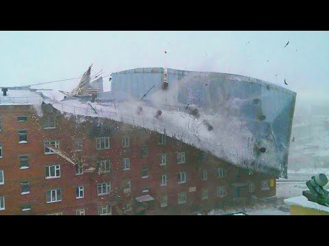 STORM WIND Blows away People and dozens of Roofs. Magadan, Russia. [subtitles] Natural Disasters