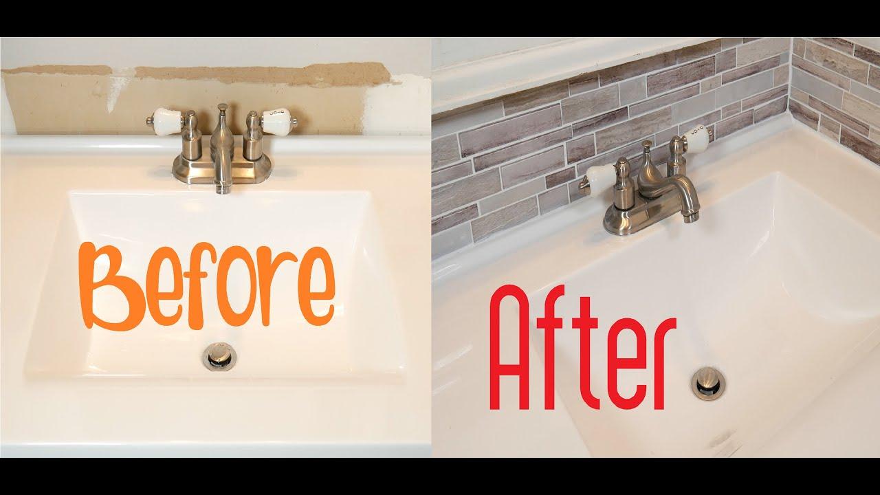 How To Install Backsplash Bathroom Tile Easy Simple Youtube