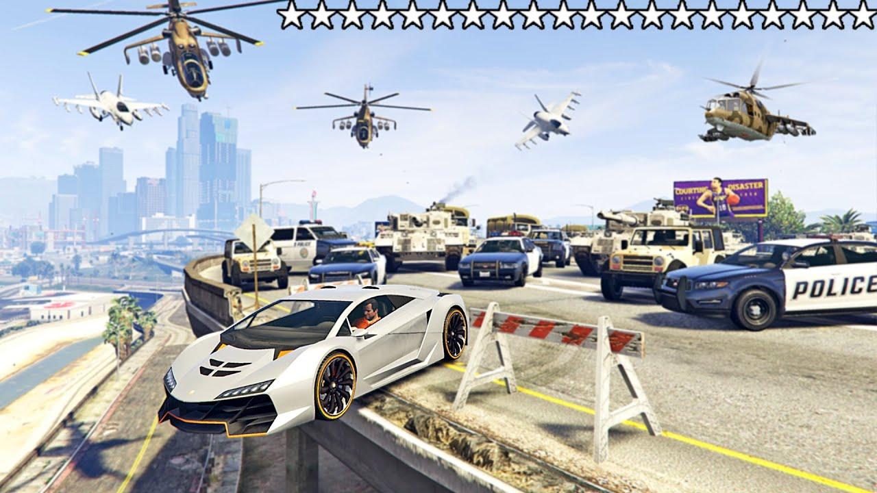 Download عشرون نجمة في لعبة قراند 5 هل يمكن الهروب ؟ | GTA V 20 Stars Wanted Level