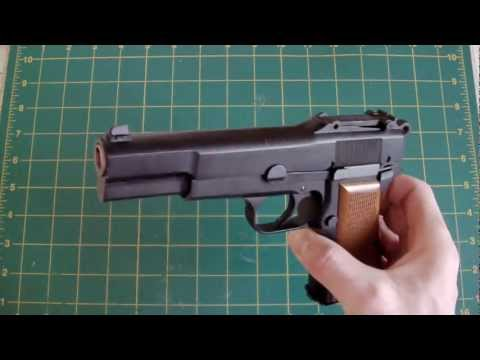LaZouche Custom airsoft WE Browning HP 9mm review.