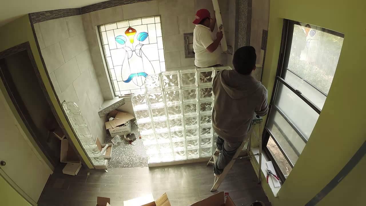 installing pittsburgh corning glass block shower