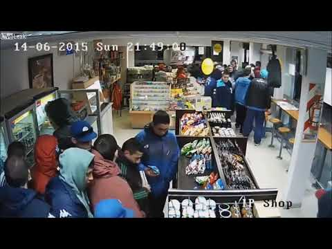 CCTV footage | Football Hooligans Clean-Out A SHELL Gas Station