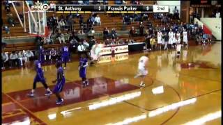#11 Connor Polk scores a corner 3 pointer for Francis Parker