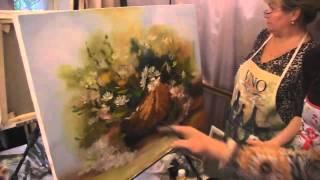 Видеоурок Сахарова Как научиться рисовать цветы, ромашки живопись для начинающих, уроки рисования