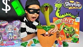 Giant Snake Attacks Girl - Bad Kids Steals Emerald Gemstones - Cobrattack - Shopkins Disney Toys