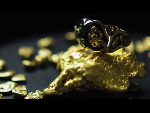 """Gold Nugget Men's Ring """"Orocal"""" RM654 Genuine Hand Crafted Jewelry - 14K Gold Casting"""