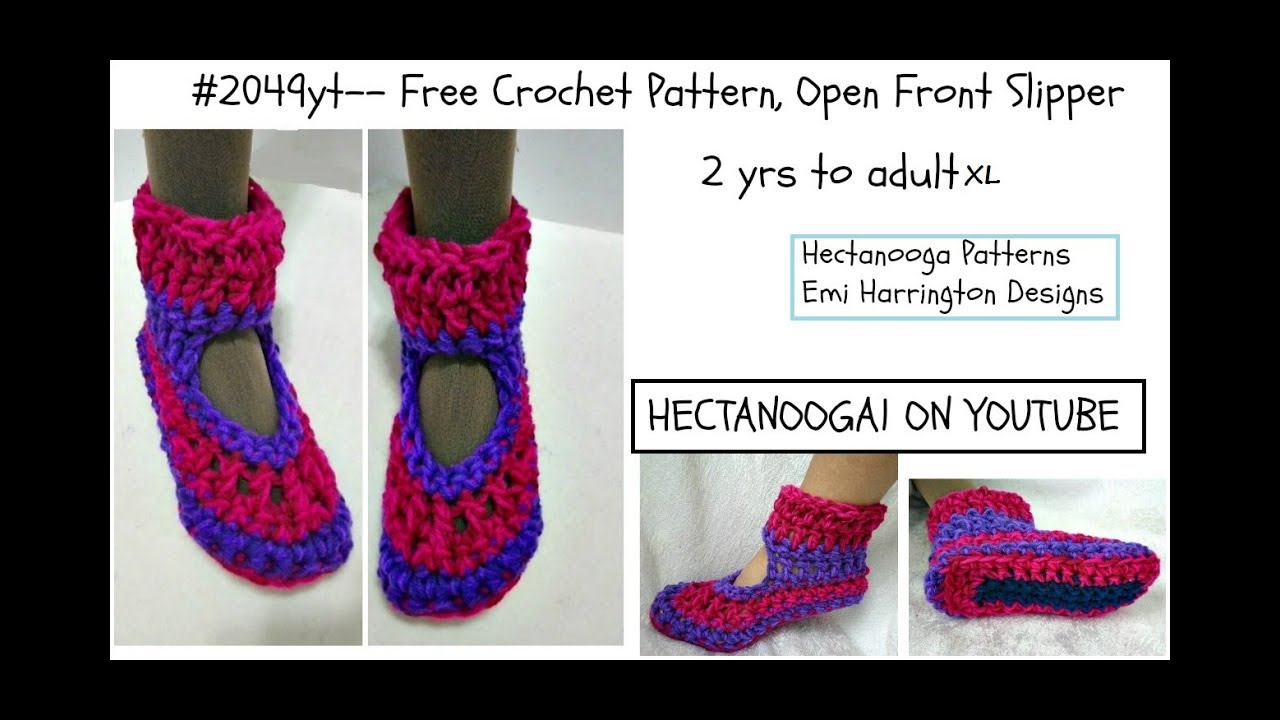 Free crochet pattern open front slipper 2 yrs adultxl pattern free crochet pattern open front slipper 2 yrs adultxl pattern 2049yt bankloansurffo Image collections