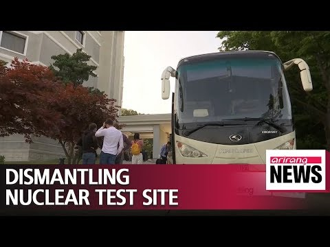 International reporters on their way to Punggye-ri nuclear test site, where dismantling is...