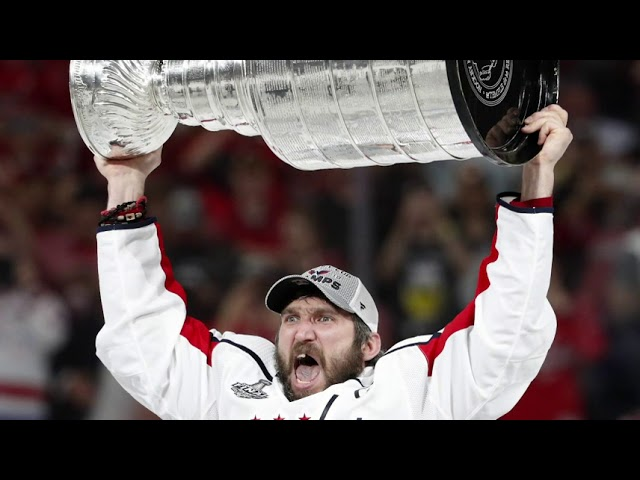 Washington Capitals team captain Alex Ovechkin is celebrating his team's Stanley Cup win. The Caps beat the Las Vegas Golden Knights 4-3 on Thursday night to win the NHL championship 4 games to 1. It's the Capitals first-ever Stanley Cup. (The Associated Press)