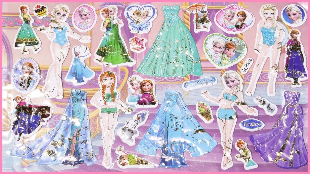 Đồ chơi dán hình Stickers công chúa Elsa và công chúa Anna trong phim nữ  hoàng bằng giá - YouTube