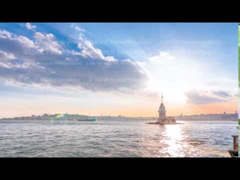 Maidens tower before sunset timelapse in istanbul, turkey, kiz kulesi tower