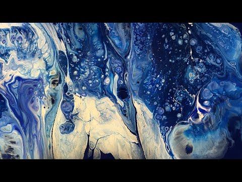 (6) Fluid Painting- Acrylic Pour - High Contrast Blues