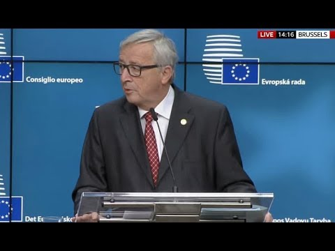 Tusk and Juncker give a press conference on Brexit negotiations - 15 Dec 2017