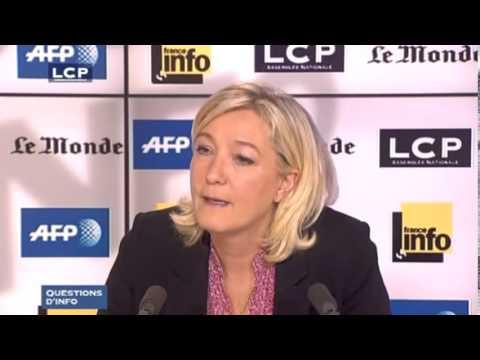 Marine Le Pen - FN-RBM - invitée de Questions d'info sur LCP