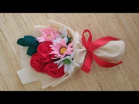 DIY Felt flowers bouquet - cara membuat buket bunga flanel sedang