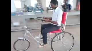Mechanical enginnering projects-New model Three wheel handicapped streeing propulsion cycle.