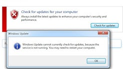 Windows Update cannot currently check for updates because the service is not running in Windows 7