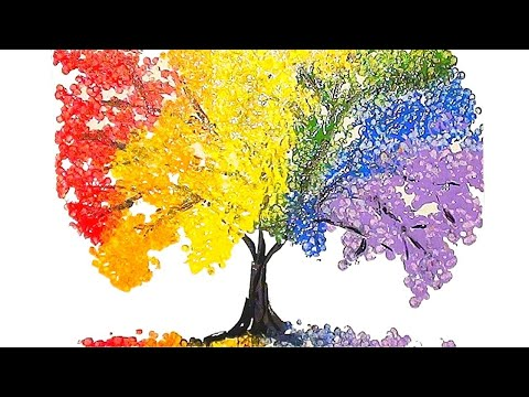 Rainbow Tree Q Tip Acrylic Painting For Beginners Technique - Acrylic Painting
