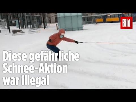 Schnee in Deutschland genutzt: Diese Fahrt durch Leipzig hat der Polizei gar nicht gefallen