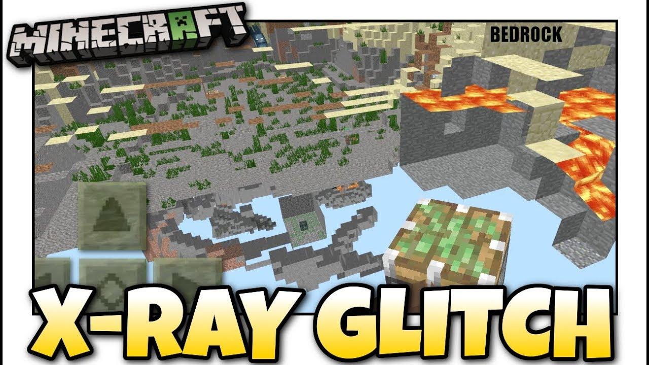 Minecraft Bedrock - X-RAY GLITCH ☠️ No Damage ☢️ Tutorial - PS11 , MCPE ,  Xbox , Windows & Switch