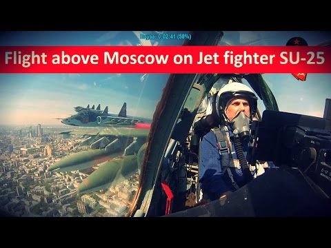 Flight above Moscow City on Jet Fighter SU-25 - nice view from its cabin