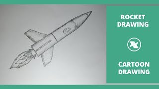 how to Draw a Rocket  Easy Rocket Step by Step Drawing for kids  Cartoon Rocket Drawing