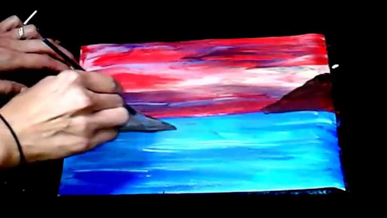 PINTA UN PAISAJE DE MAR. PAINTING A LANDSCAPE SEA. - YouTube