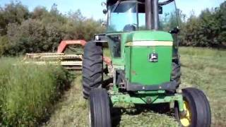 John Deere 4430 And New Holland 499 Haybine Cutting Hay