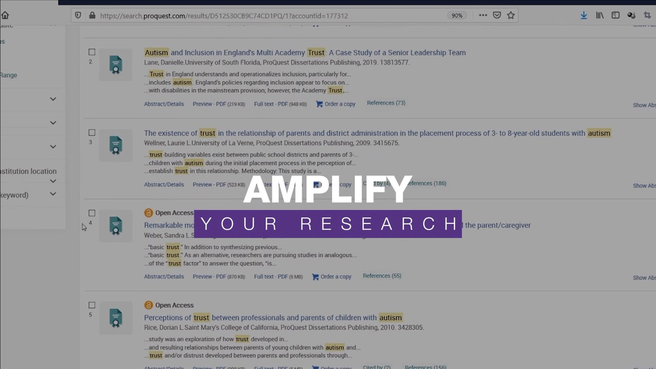 Proquest dissertation search example term paper format