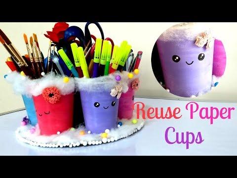 DIY organizer from disposable paper cups | pen holder | makeup brush holder| DIY Desk organizer