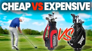 EXPENSIVE GOLF CLUBS AND BALLS VS CHEAP CLUBS AND BALLS