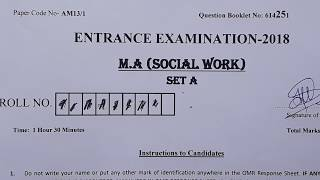 QUESTION PAPER MA SOCIAL WORK JAMIA  2018 Unsolved