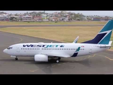 WestJet 737 takeoff in St.Lucia Tower View 1080P HD