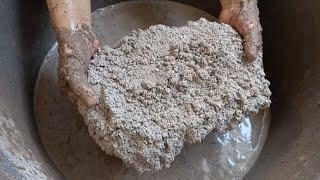 crunchy dusty chunks water crumbling   dipping pouring smashing in water   satisfy asmr