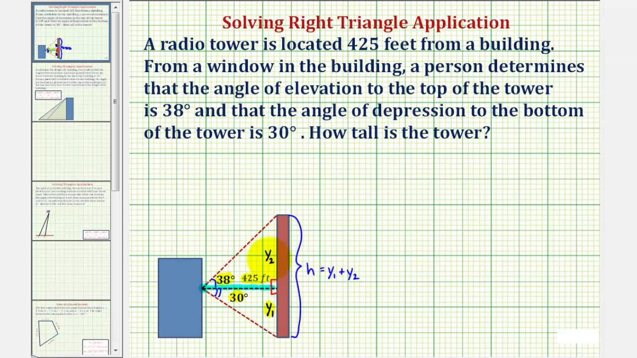 Ex Find Height Of Building Using Angle Of Elevation And Angle Of - How to determine elevation
