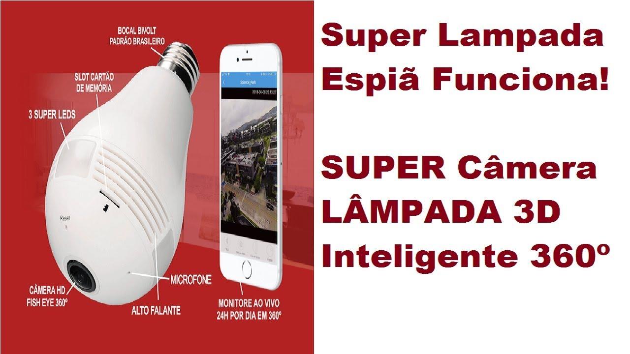 Super Lampada Espiã Funciona! SUPER Câmera LÂMPADA 3D Inteligente 360º