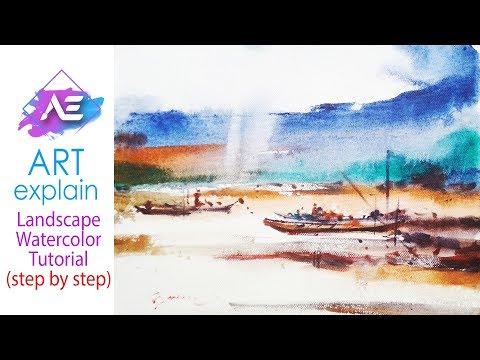 Colorful transparent Watercolor Landscape Painting   How to paint a watercolor   Art Explain