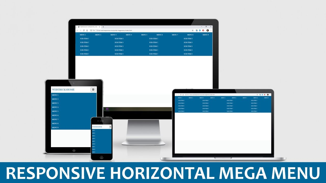 Responsive Horizontal Mega Menu With HTML And CSS