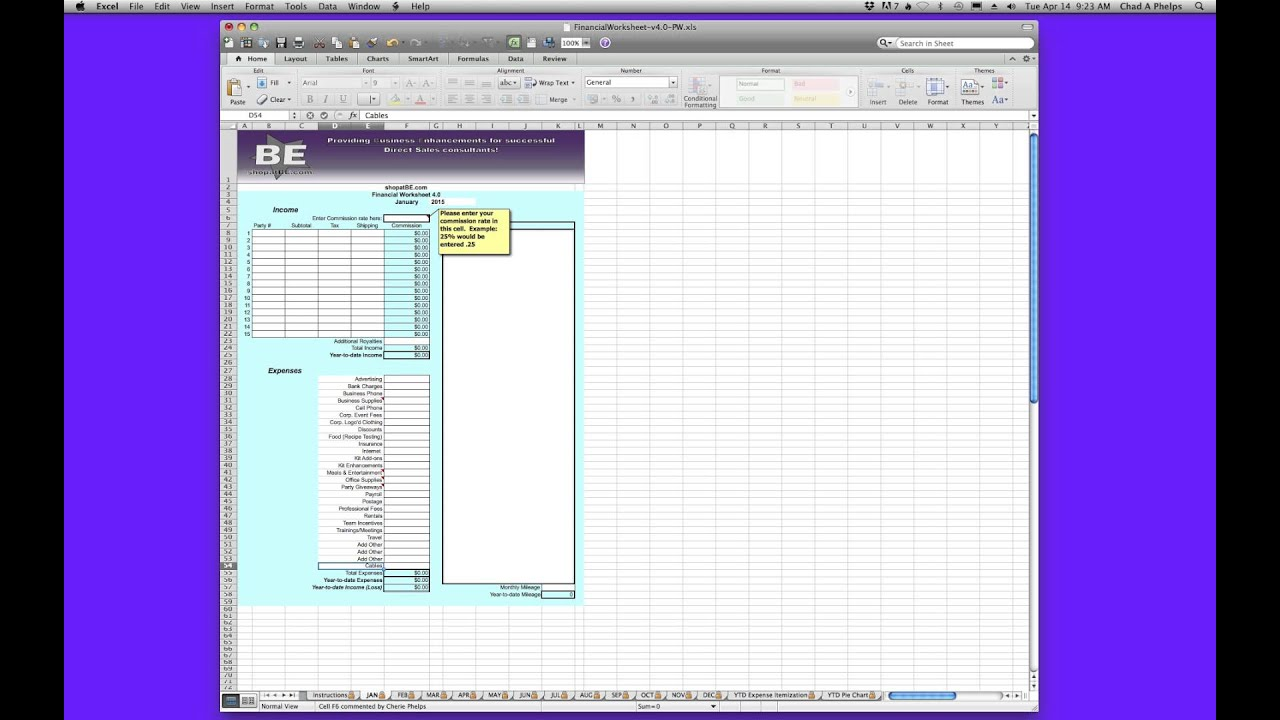 financial worksheet