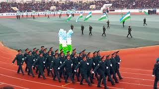 Марш военных ко Дню защитников Отечества в Навои