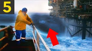 Top 5 MASSIVE Waves VS Oil Rigs - heavy seas!